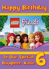LEGO FRIENDS PERSONALISED A5 BIRTHDAY CARD WITH COLOURING PICTURE