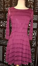 Lily Rose ModCloth Maroon Burgundy Striped Sheer Lined 3/4 Sleeve Dress (Sz: S)