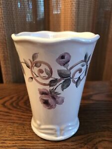 CROSCILL Chambord Cassis Ceramic Bathroom Tumbler Purple Floral