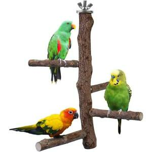 Bird Parrot Hanging Wood Stand Swing Cage Toy Budgie Play Cage Perch Stand UK