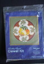 "Fruit Round Crewel Embroidery Kit Candamar Designs ©1978 #40023 14"" Round Linen"