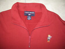 Vintage POLO SPORT Ralph Lauren Bear 1/3 Zip Pullover GOLF Sweater LARGE USED