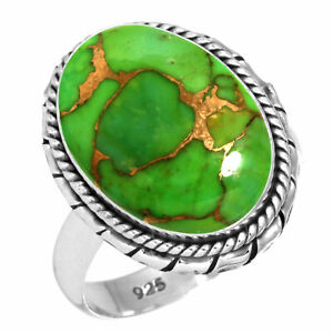 925 Sterling Silver Women Jewelry Copper Green Turquoise Ring Size 8 BL93873