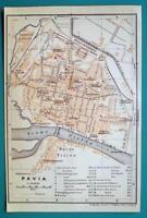 1931 BAEDEKER MAP - Italy PAVIA City Plan Environs + Railroads
