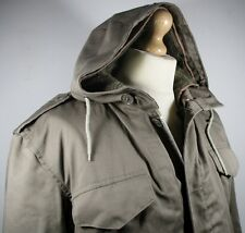 """Vintage Mens 60s German Army Parka SMALL 44"""" (42-44) Military Jacket w/ Faux Fur"""