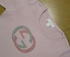 GUCCI (Age 5-6 Years.For Girls)Luxury Kids Designer Sweater Pink.Rhinestone.Logo