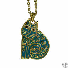 Laurel Burch Gold Tone Julbliee Teal Cat Cloisone Shiney Necklace New Collection