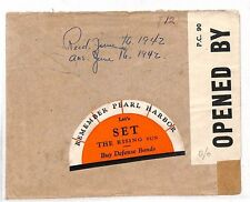 LL66 1942 GB USA WW2 PATRIOTIC *Remember Pearl Harbour* Label Canada Censor Env
