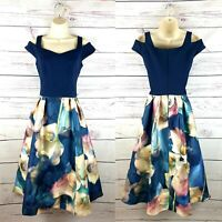 Coast Navy Blue Floral Jacquard Midi Dress Wedding Party Evening Dress UK Size 8