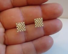 925 STERLING SILVER STUD EARRING CHECKERED DESIGN/SIZE 9MM BY 9MM  / NEW DESIGN!
