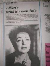 Journal du décès de: 25 ANS EDITH PIAF 11/10/1988