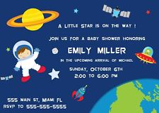 30 invitations boy birthday party baby shower space planets astronaut