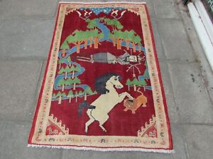 Vintage Traditional Hand Made Oriental Gabbe Wool Red Rug 162x106cm Horse