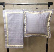 Martha Stewart Decorative Bed Throw Pillow & 2 Euro Shams Lavender & Satin Cream
