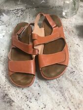 Wolky Womens Rust Orange Brown Strappy Leather Walking Sandals  US 9.5 EU 41