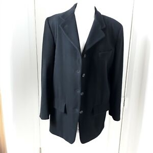 VINTAGE 90s CALVIN KLEIN Boxy Black Wool Boyfriend Coat Jacket  Blazer Sz 12 14