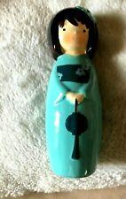 "Japanese Doll Ornament, Geisha Girl, Porcelain Doll, Turquoise 6.5"" high VVGC"