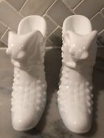 Pair Of Fenton Vintage White Milk Glass Cat Head Shoes ~ Hobnail Pattern