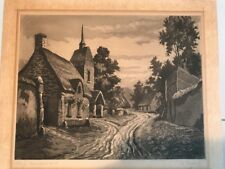 """DeCroisset Early 20th Cent. Etching """" Village Champenois #10"""" VG"""