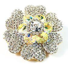 USA BROOCH Swarovski ELM Crystal PIN fashion Wedding Flower Gold plated AB Clear