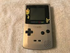 Gameboy Color Pokemon Silver Pikachu Edition Works Great ( No Battery Cover )