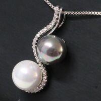 10mm AAA White Akoya Black Tahitian Pearl Diamond Pendant Necklace Women Jewelry