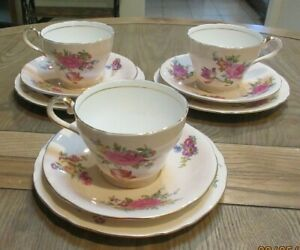 VINTAGE SET 3 TRIOS CUPS/SAUCERS/PLATES PINK ROSES/TULIPS-AYNSLEY ENGLAND 9PIECE