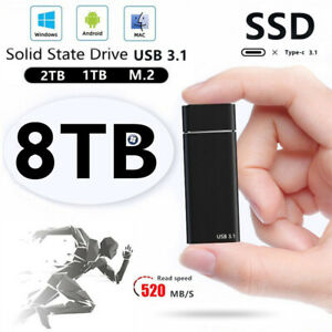 USB 3.1 External Solid State Drives 4Tb Portable Mobile Hard Drive PC Laptop