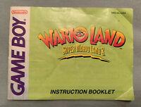 WARIO LAND 1: SUPER MARIO LAND 3 - Nintendo Game Boy Video Game Manual ONLY RARE