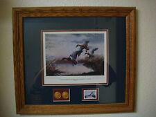 Les Kouba Original Signed Print 1985-1986 Final Flight Framed Duck Hunting Art
