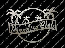 Paradise Club Mancave Bar Pub Pool Dorm Room Art Metal Sign Beach Hawaii Tiki