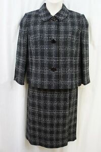 Suit Studio Skirt Suit Sz 12 Black Multi Evening Career Business Dinner Suit