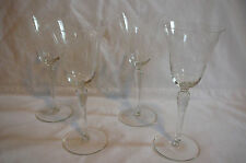 Set of 4 fine vintage Fostoria? wine/ apertif goblets with etched floral pattern
