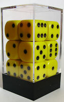 PACK OF 12 OPAQUE YELLOW DICE 6 SIDED /& 15mm SIDES !!