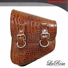 LaRosa Harley V Rod Night Rod Special Saddlebag - Brown Alligator Emboss Leather