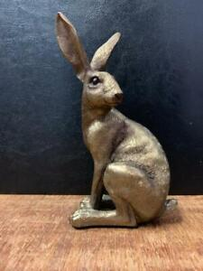 Cold Cast Bronze Reflections Sitting Hare Statue Ornament Sculpture 28615