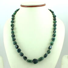 925 SOLID STERLING SILVER NATURAL GREEN EMERALD GEMSTONE NECKLACE 41 GRAMS