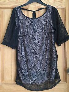 H&M Mama Ladies Black Lace 3/4 Sleeve Maternity Blouse Top Sz M