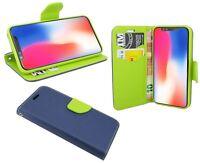 iPhone X // Brieftasche Zubehör vertikal seitliche Tasche Hülle in Blau-Grün