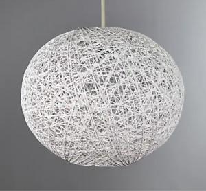White Lattice Wicker Rattan Small 20cm Globe Ball Ceiling Light Shade Pendant
