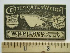1900s? Certificate of Weight Brooklyn New York NY Souvenir Card Electric Fortune