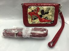 Debbie Brooks Wristlet Wallet Phone Case Red Silver PINK HEEL Cross Body New