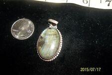 Silver 925 Slide Pendant Labradorite quartz Agate oblong Circle Sterling