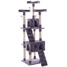 "67"" Cat Tree  Furniture Scratching Tower Condo Post Pet Kitty Playhouse Gray"