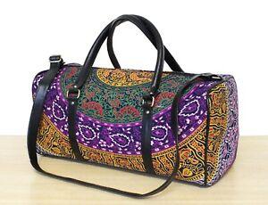 Traditional Indian Cotton Large Duffel Luggage Bag Floral Mandala Travel Bag New