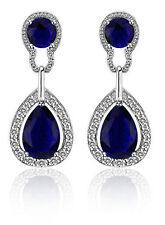 Vintage Design Long Luxury Teardrop Silver & Dark Blue Drop Earrings E698