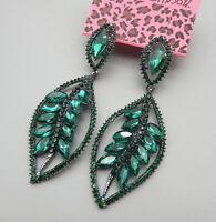 Betsey Johnson Green Crystal Rhinestone Leaf Stud Dangle Earrings