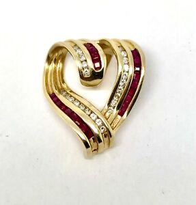Large Natural RUBIES & DIAMONDS 14 K Yellow Gold Heart Pendant w/ Card Appraisal