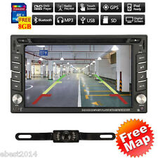 "Car DVD CD Player 6.2"" 2DIN In Dash GPS Navigation+Map FM+BT+Radio Stereo+Camera"