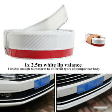2.5M White Carbon Fiber Car Front Lip Bumper Rubber Protector Strips Decoration